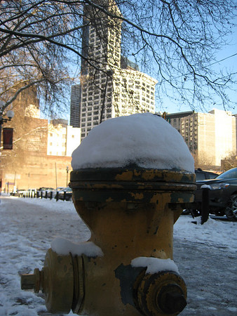 fire hydrant seattle pioneer square snow